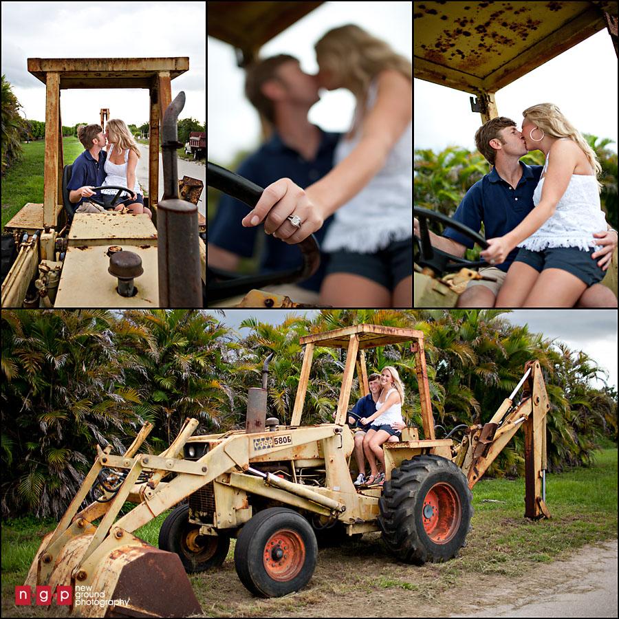 Couple On Tractor : Naples engagement jenny jason