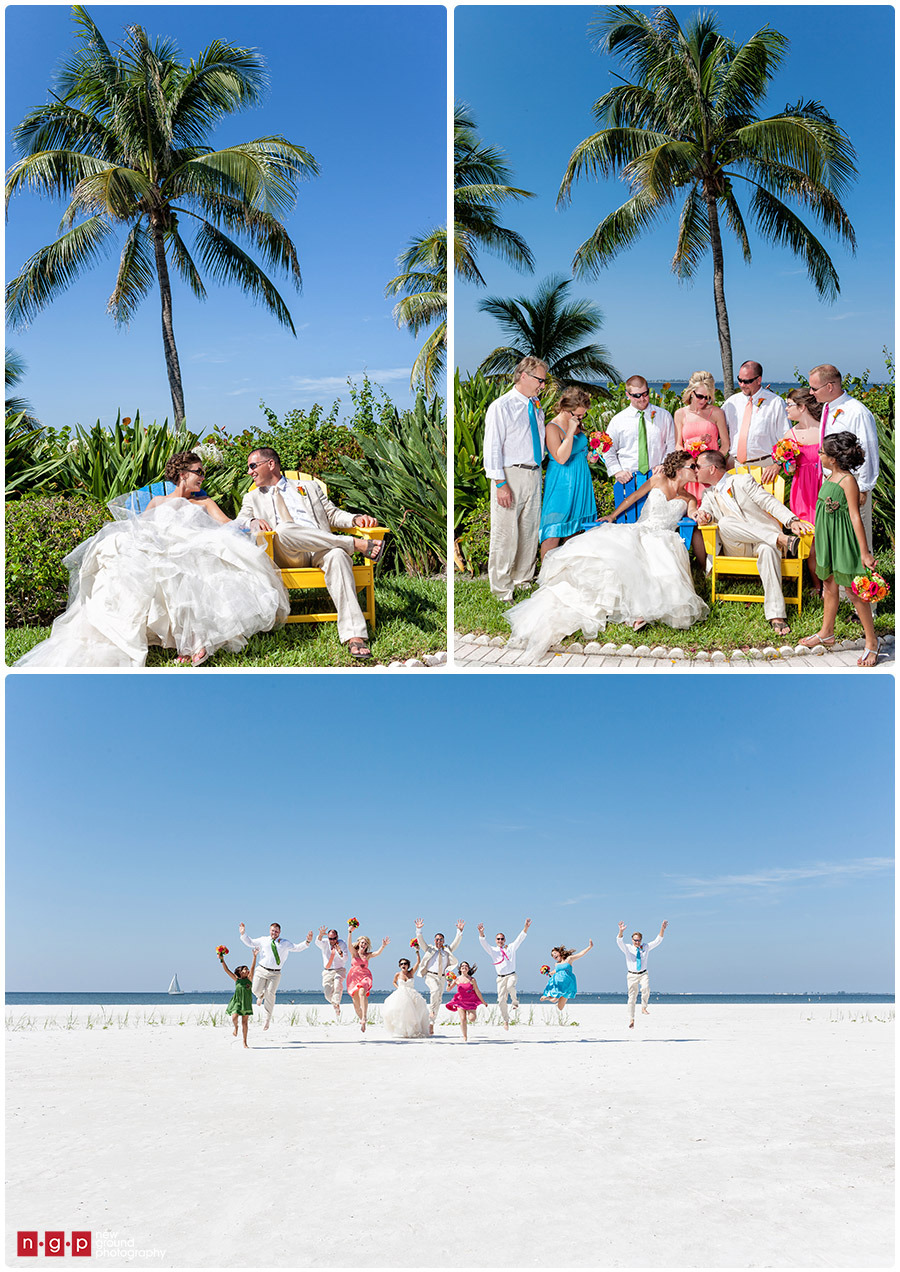 Beach wedding party teal fun wedding photos with the