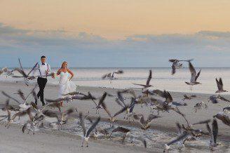pink shell resort wedding photos