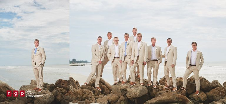 groomsmen on naples beach